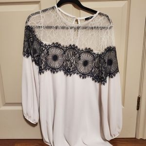 Topshop white and black lace dress